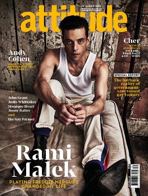 Attitude 301 front cover Rami Malek
