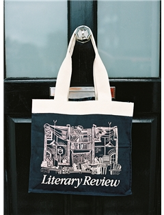 Navy and cream Literary Review tote bag