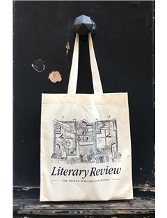 A canvas bag with Literary Review logo