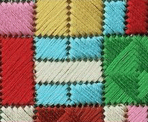 Close up of coloured stitching