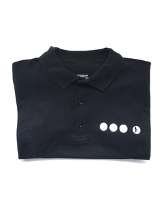 Black Searcher polo shirt, with the Searcher logo